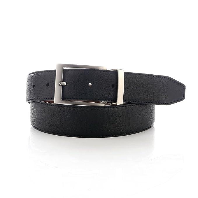 911a6a439f5 LUCHENGYI Cinturón Reversible de Cuero Negro y Marrón con Hebillas  Metálicas de 35mm para Hombres 120cm  Amazon.es  Ropa y accesorios