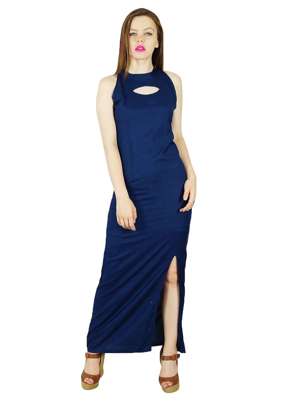 Bimba Frauen lange Maxi-Kleid mit Seitenschlitz Keyhole Ansatz sleeveless klassisches formales Kleid