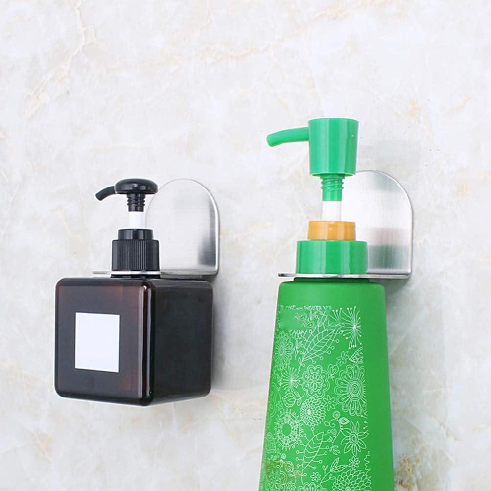 DOITOOL 2 pcs Shampoo Bottle Holder Hook Dispenser Pump Bottles Holder Hook Shower Gel Bottle Rack Bathroom Wall Shelf Hand Sanitizer Hanger for Kitchen Bathroom