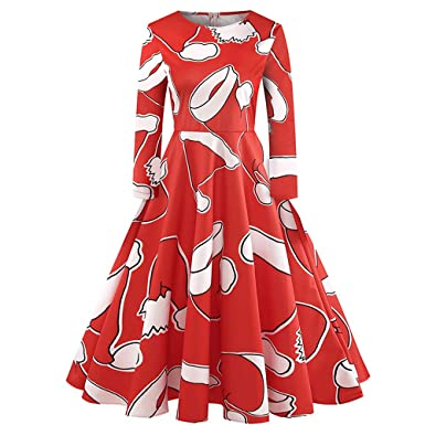 4Clovers Christmas Dress, Fashion Women Christmas Hat Printing Strip Zipper Ball Gown