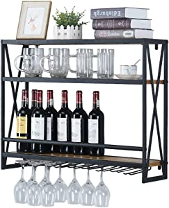 Industrial Wine Racks Wall Mounted with 8 Stem Glass Holder,31.5in Rustic Metal Hanging Wine Holder Wine Accessories,3-Tiers Wall Mount Bottle Holder Glass Rack,Wood Shelves Wall Shelf(Black)