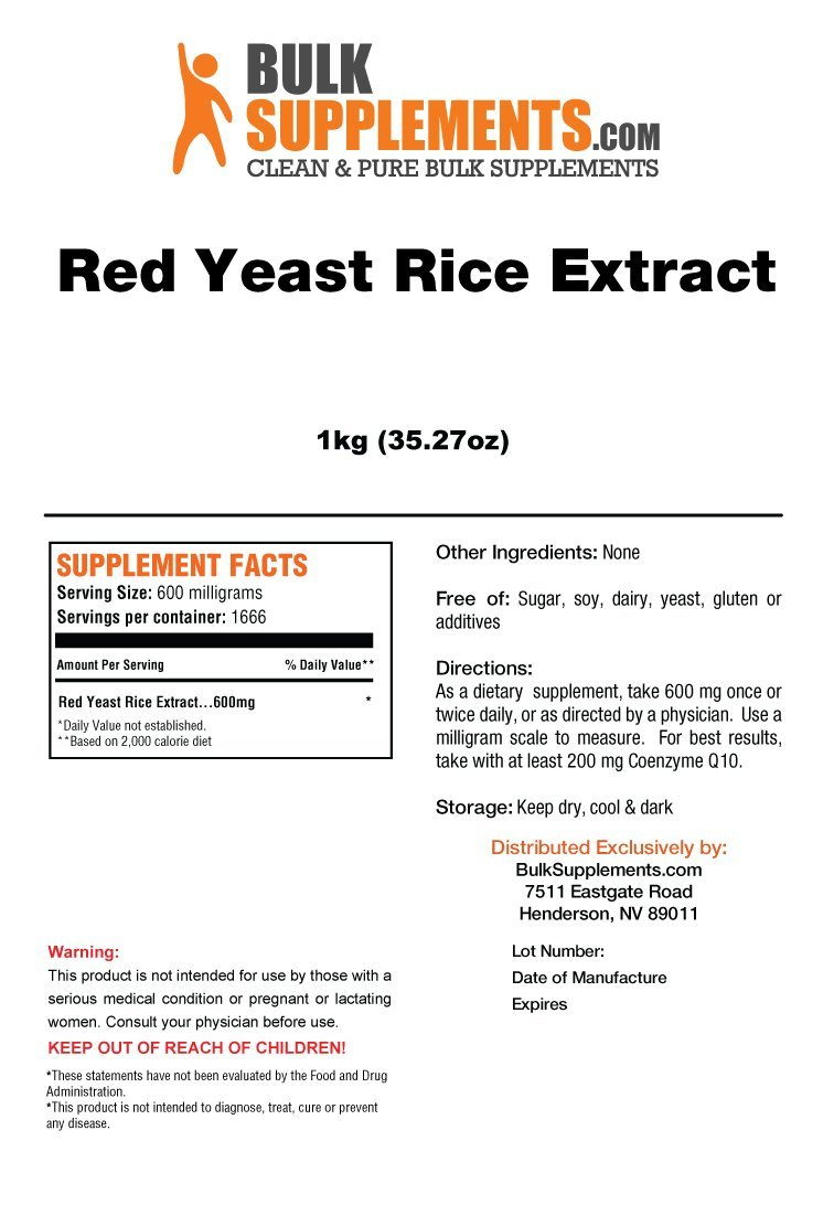 BulkSupplements Red Yeast Rice Extract Powder 5 Kilograms