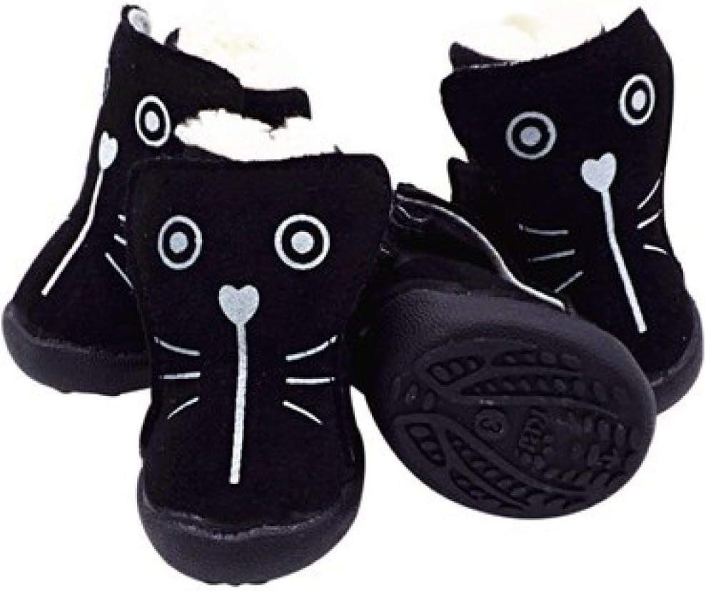 OLADO Cute Cat Face Pattern Zapatos para Perros Botas de Invierno de Piel Gruesa para Mascotas para Chihuahua Soft Sole Anti Skip Shoes
