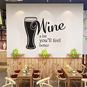 """SITAKE Wine Decor for Kitchen, """"Wine A Bit You'll Feel Better"""" Kitchen Theme Sets Wall Sticker Decal Decorations, Vinyl Art Wall Decal for Dining Bar Room House, 22.8 x 17.7in"""