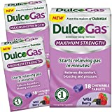 (3 Pack) Dulcogas Maximum Strength Antigas Tablets, Wild Berry, 18 Ct ea.