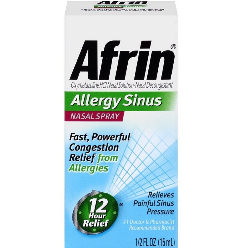 Afrin Nasal Spray 12 Hour Relief, Allergy Sinus, 0.5 fl oz (Pack of 6)