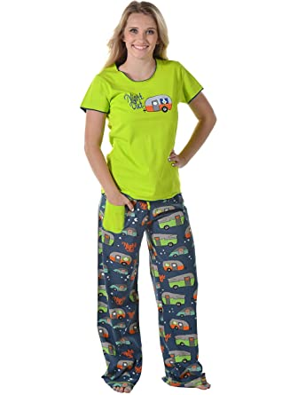 c0d2dd9ec531 Night Out Camper Green Women s Fitted Pajama Set by LazyOne Soft Camping  Pajama Sets for Women