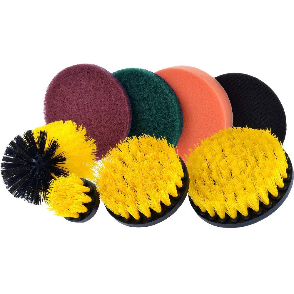 Drill Power Scrubbing Brushes Drill Scrubber Scouring Pads Cleaning Kit(8pcs)- All Purpose Drill Scrubber Attachment for Cleaning Showers, Kitchen, Bathrooms, Tile, Grout, Carpet, Floor, Boats ZhuTook