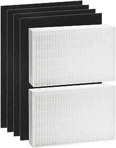Tomkity 2 True HEPA Filter Plus 4 filtros de carbón activado precortados, filtro de repuesto compatible con el purificador de aire Honeywell HPA200, filtro R, HRF-R2, HPA200, HPA201, HA202, HPA204 y HPA250: