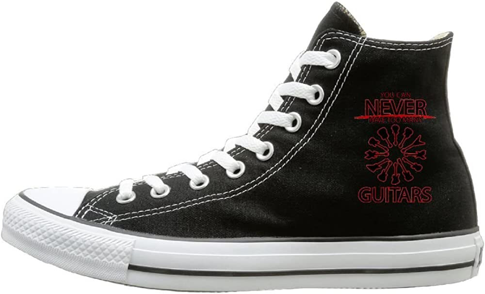 Shenigon Can Never Have Too Many Guitars Canvas Shoes High Top Design Black Sneakers Unisex Style