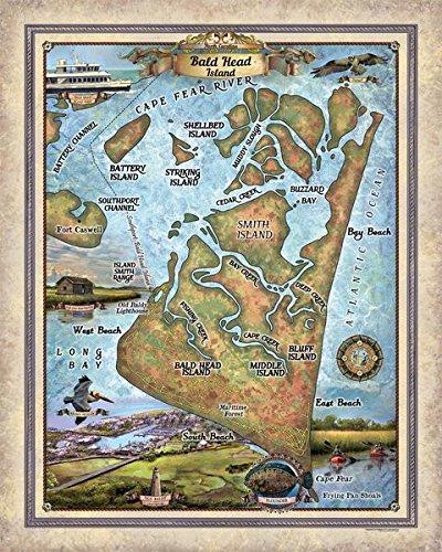 293 Bald Head Island  North Carolina Vintage Historic Antique Map Poster Print