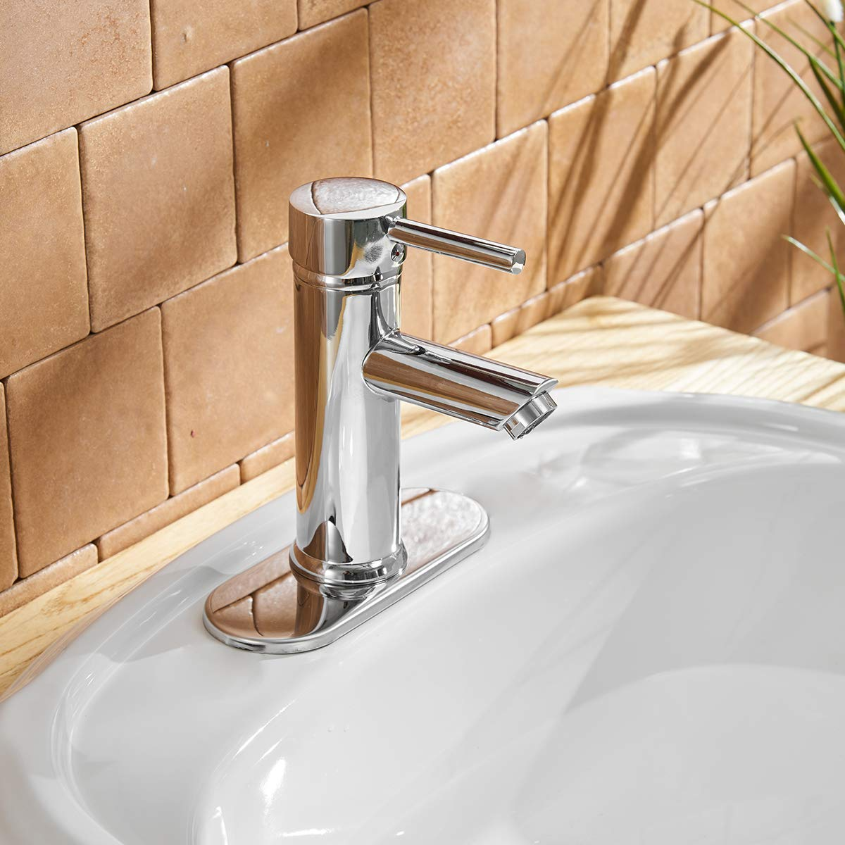 Greenspring Commercial Single Handle Bathroom Sink Faucet One Hole Deck Mount Lavatory Faucet Stainless Steel ,Chrome Finish