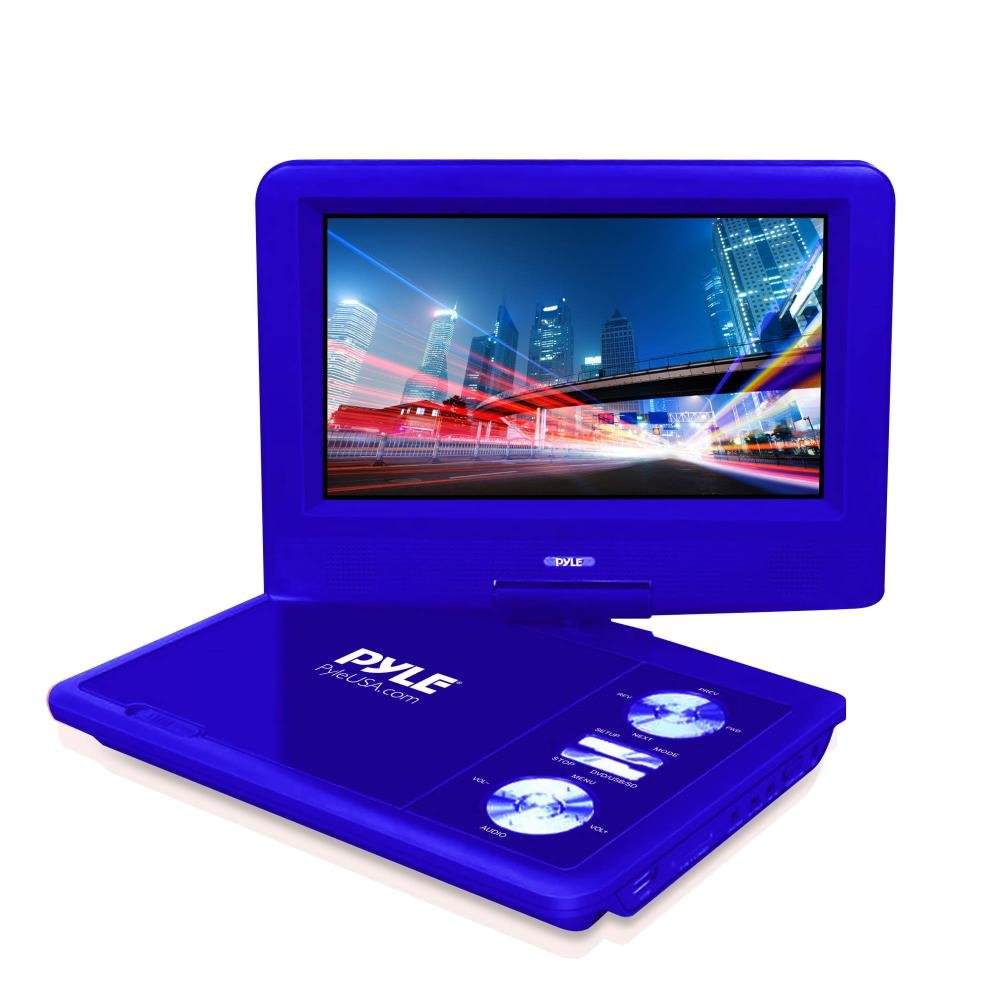 Upgraded 2017 Pyle 7 Inch Portable Travel DVD Player, Car Headrest CD DVD Player, Portable Battery, USB/SD, Headphone Jack, Includes Wireless Remote Control, Car Charger, Travel Bag, Blue (PDV71BL)