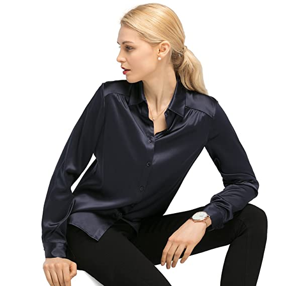 80eea21a15b0 LILYSILK Ladies All Year Long Blouse Long Sleeves Collared 19MM Silk  Blouse: Amazon.co.uk: Clothing