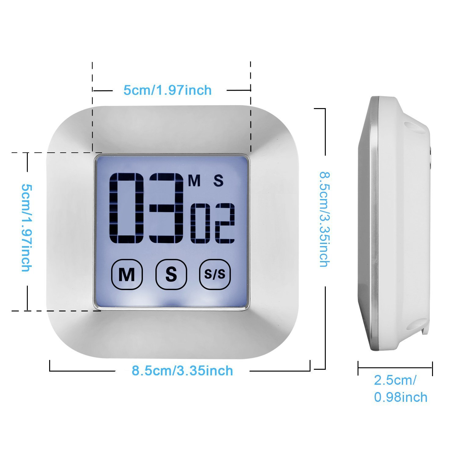 WERCOMIN Digital Kitchen Timer Touchscreen Cooking Timers Clock Backlit LCD Screen Loud Alarm Magnetic Backing Stand for Game, Classroom, Sports, Exercise by WERCOMIN (Image #8)