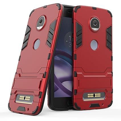Funda para Motorola Moto Z2 Play (5,5 Pulgadas) 2 en 1 Híbrida Rugged Armor Case Choque Absorción Protección Dual Layer Bumper Carcasa con pata de ...