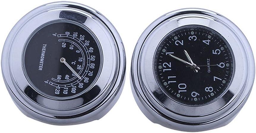 Universal Motorraduhr Motorrad Lenker Thermometer Wasserdicht 25 22m Schwarz Aluminium 7 8 22 Mm Lenker Auto