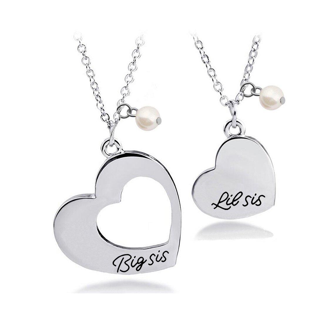 BNQL Big Sister Little Sister Necklace Set for 2 BFF Gift (necklace set)