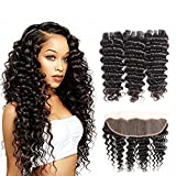10a Brazilia Deep Curly Bundles with Frontal Ear to Ear Lace Frontal with Bundles 100% Unprocessed Virgin Human Hair 3 Bundles with Closure Remy Brazilia Deep Wave Hair Extensions 50g/pc Natural Color