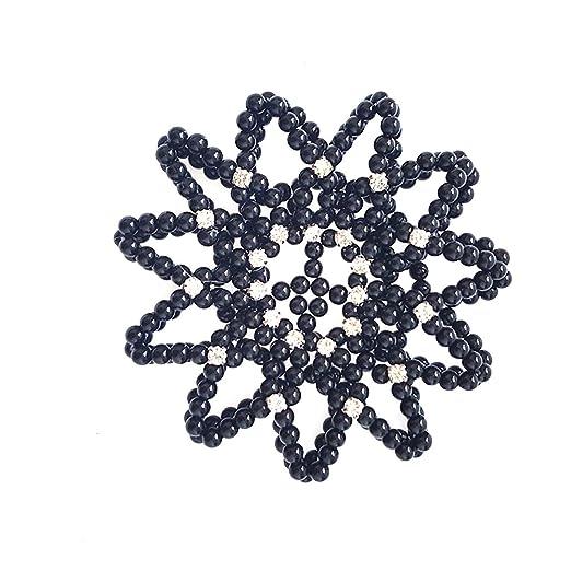 Elastic Handmade Crochet Pearl Hair Snood Net Ballet Bun Hair Covers