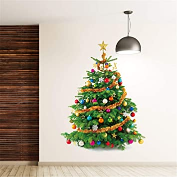 Merry Christmas Decals Tree Star Wall Stickers Home Decals Diy Window Decoration