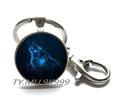 Amazon.com: Lobo aullando llavero, Azul lobo Anillo de llave ...