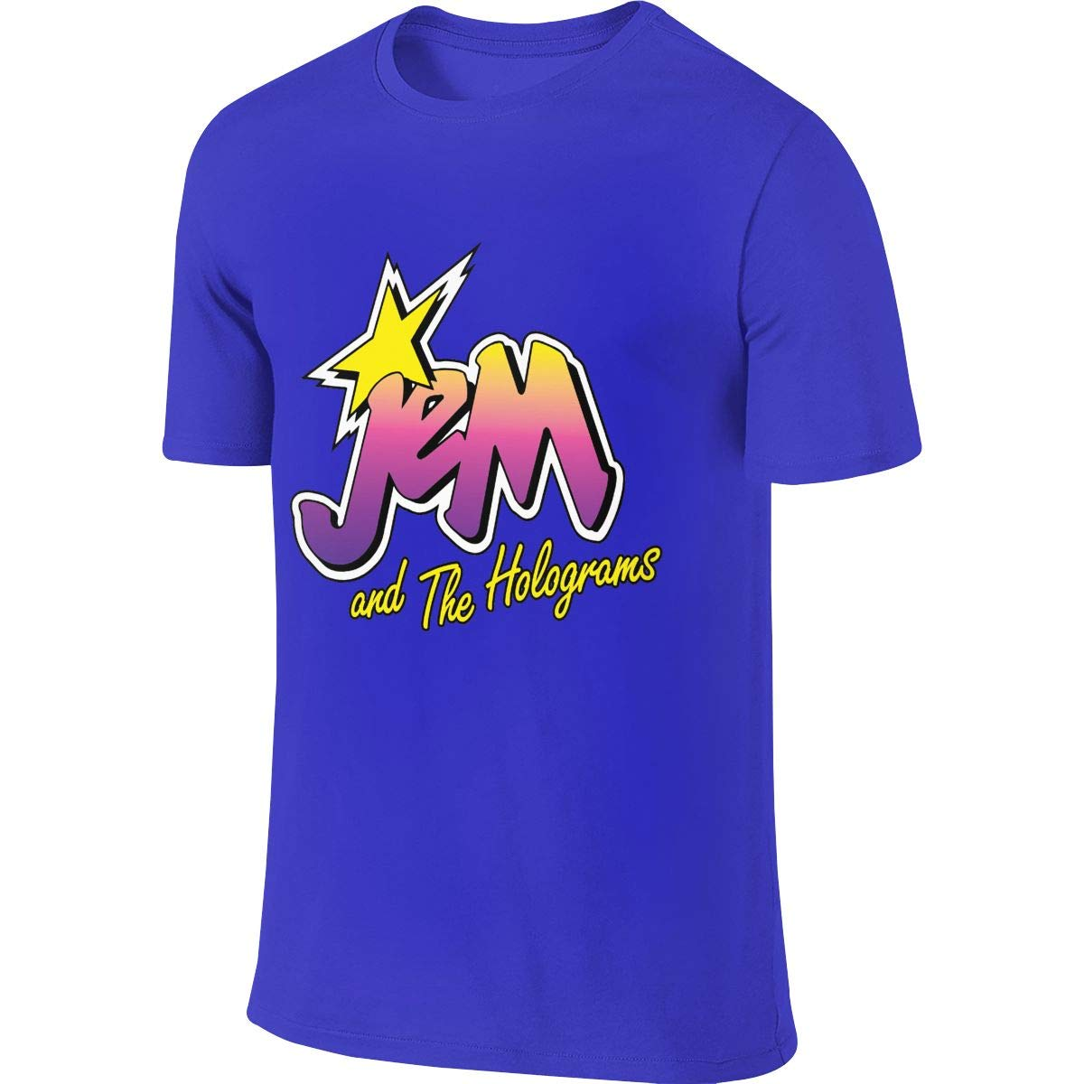 Men's Youth Boys Jem and The Holograms T Shirt T-Shirt Summer Short-Sleeve Round Neck Shirts Cotton Sport Tops Blue XL