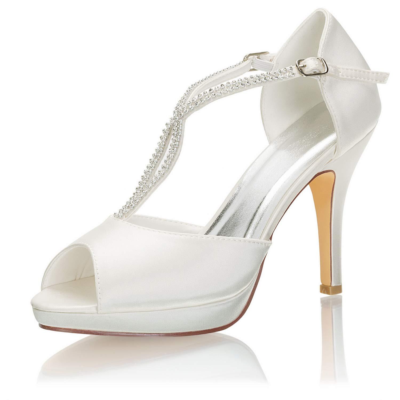 Emily Bridal Zapatos Nupciales Satin Peep Toe T Type High Heel Zapatos de Novia con Diamantes de imitaci/ón