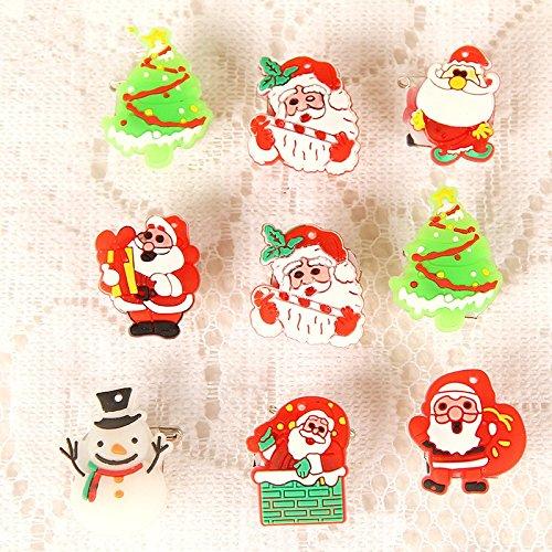 Led Flashing Pins (Fenta Christmas Party Decoration Flashing LED Glowing Santa Snowman Brooch)