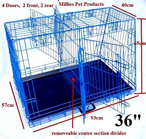 wow-market 24 Dog Cage Double Door Heavy Duty Folding Pet Crate Black Metal Tray Cat Carrier 61x43x51CM 3.6KG