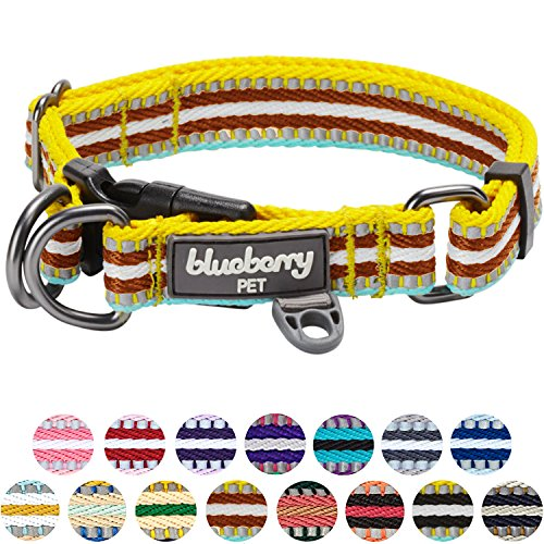 Blueberry Pet 15 Colors 3M Reflective Multi-colored Stripe Dog Collar, Yellow Azure and Brown, Medium, Neck 14.5