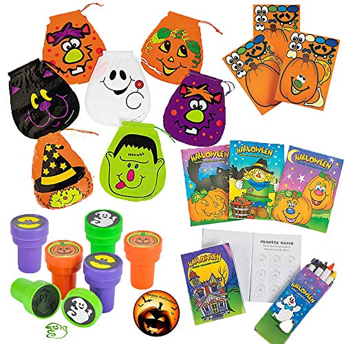 Halloween Classroom Rewards, Party Favor, and Toy Pack for 24 Kids with Halloween Drawstring Bags, Activity Pads, Jack-O-Lantern Sticker Sheets, Stampers, and Exclusive Halloween Pin by Another Dream! -