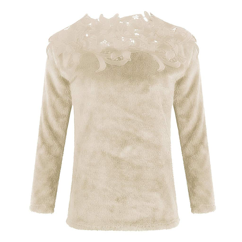 FEDULK Womens Casual Sweater Plain Long Sleeve Lace Patchwork Fluffy Pullover Tops Blouse S-5XL
