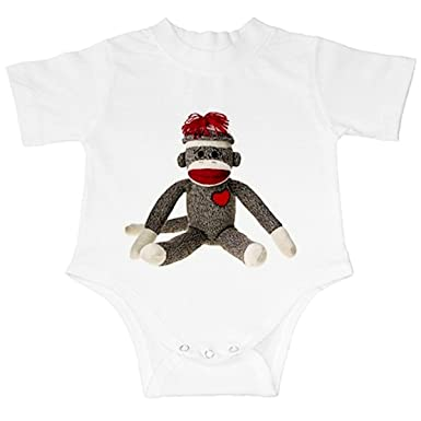 bc94efd4416f Amazon.com  Sitting Sock Monkey Infant Baby Creeper Outfit (12 mo ...
