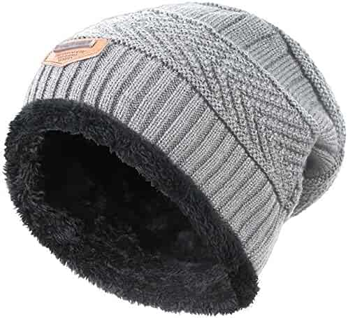 53353ac9812b8 Winter Hat Scarf for Boys Girls Kids (5-14 Years) Slouchy Beanie Windproof
