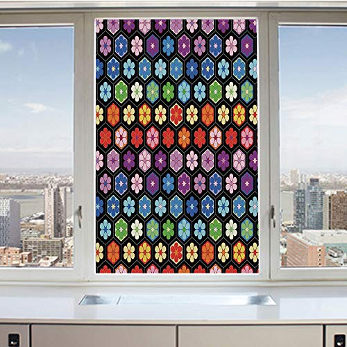 (3D Decorative Privacy Window Films,Colorful Vibrant Daisy Blossom Motifs Classic Hexagonal Comb Pattern African Flower,No-Glue Self Static Cling Glass film for Home Bedroom Bathroom Kitchen Office 24x)