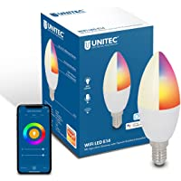 UNITEC Wifi-ledgloeilamp E14 CCT RGB, dimbare wifi-lamp, kleurverandering, koud/warm/neutraal wit, met timer en timer