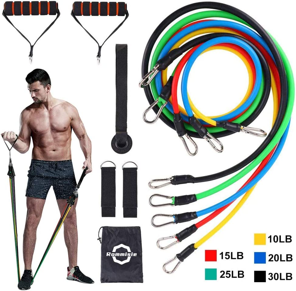 Rommisie 11 Pack Resistance Bands Set, Portable Home Workouts Accessories, Exercise Bands with Door Anchor, Handles, Legs Ankle Straps for Resistance Training, Physical Therapy, Yoga, Pilates : Sports & Outdoors