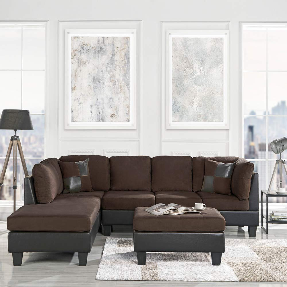 Casa Andrea Modern 3-Piece Microfiber and Faux Leather Sofa and Ottoman Set, 102'' W (Brown) by Casa Andrea