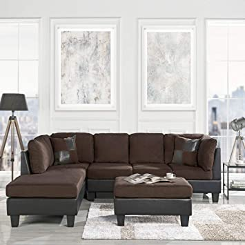 Surprising 3 Piece Modern Microfiber Faux Leather Sectional Sofa With Ottoman Color Hazelnut Beige Chocolate And Grey Chocolate Creativecarmelina Interior Chair Design Creativecarmelinacom