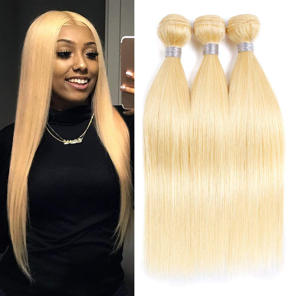 613 Brazilian Human Hair Weave 3 Bundles Straight Long Length 18 20 22inch 300g 100% Real Remy Blonde Human Hair Extensions Double Weft Straight 613 Hair Bundles For Women by VIOLET