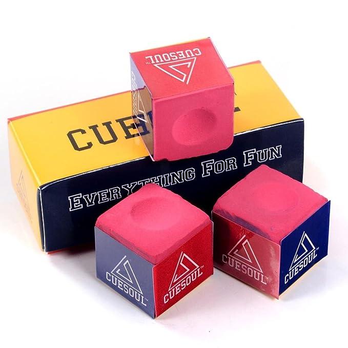 1 opinioni per CUESOUL 3 Pezzi per Scatola Biliardo Chalk Snooker Cue Chalk (Rosa)