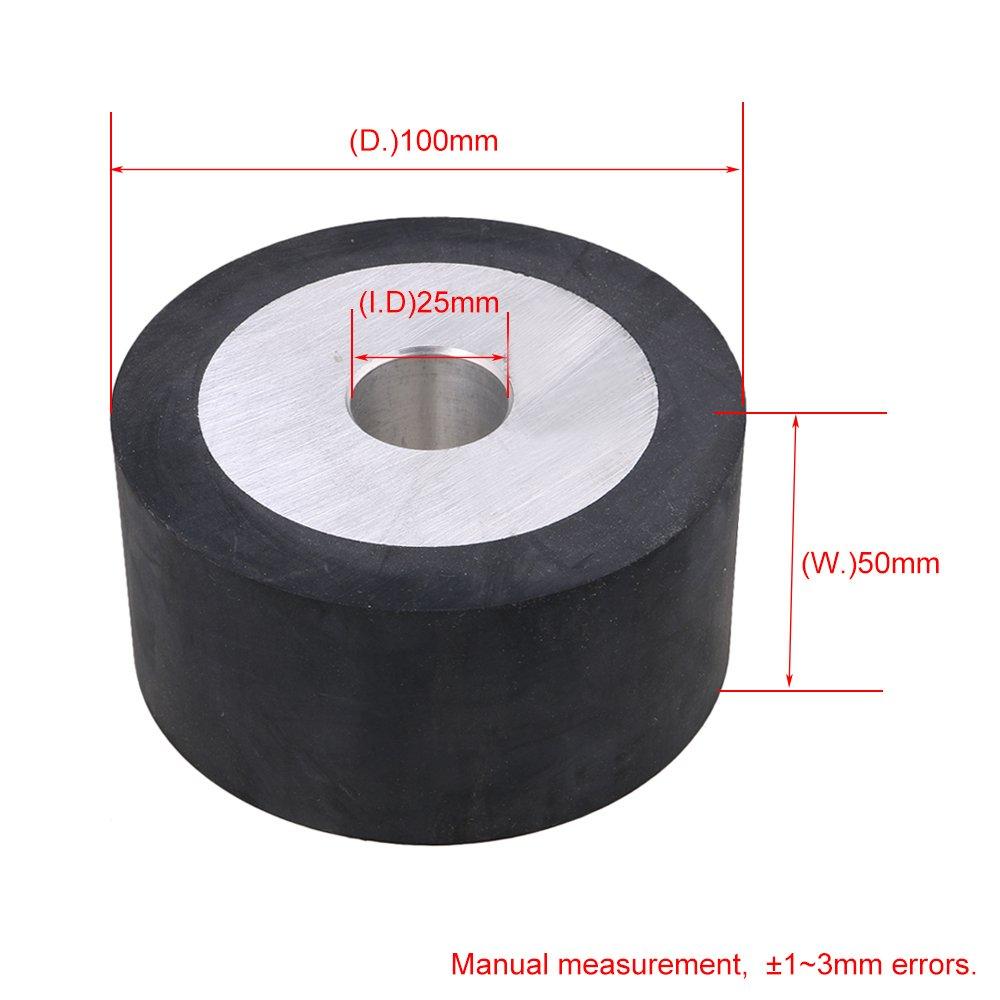 10x5cm Black Flat Surface Aluminum Core Belt Grinder Rubber Wheel for Bearings