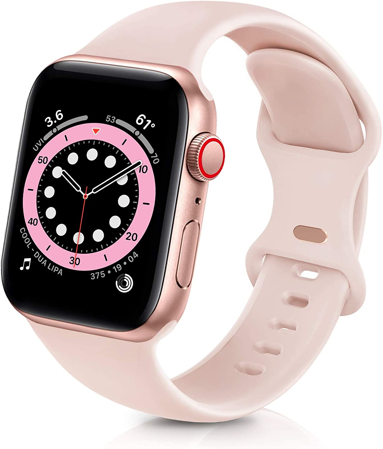 ZALAVER Bands Compatible with Apple Watch Band 38mm 40mm, Soft Silicone Sport Replacement Band Compatible with iWatch Series 6 5 4 3 2 1 Women Men Sand Pink 38mm/40mm S/M
