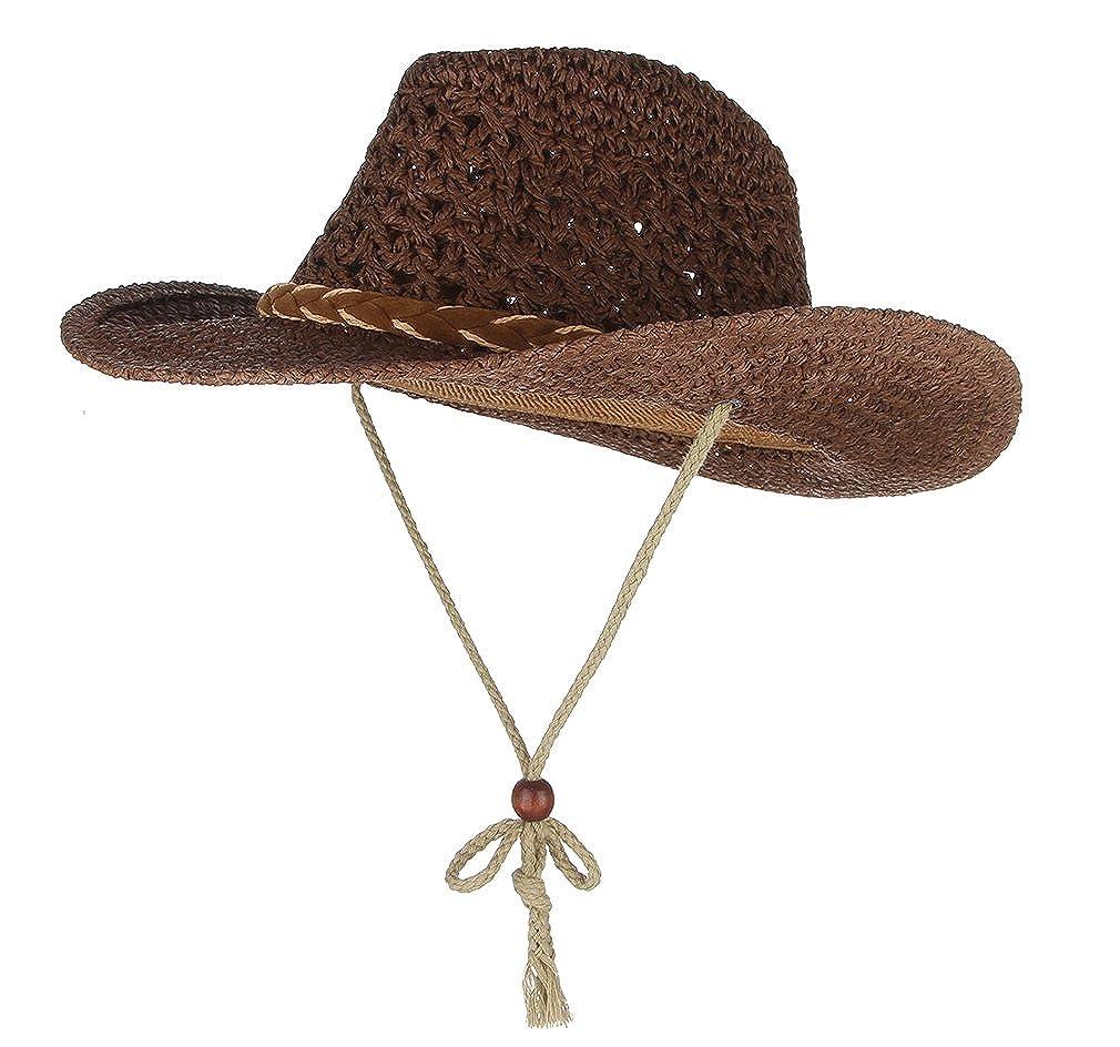 GEMVIE Sombrero de Paja Niños Cowboy Jazz con Cuerda de Viento Ala Ancha Circunferencia/50cm