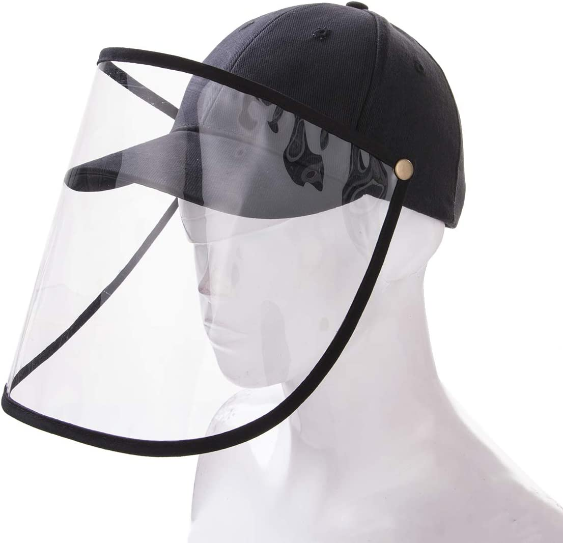 Safety Face Shield Visor Mask Full Face Shield Protective Cap for Men and Women Anti-Fog, Anti-saliva,Anti-Spitting Hat Cover Outdoor Fisherman Sun Hat (Baseball Cap with Removable Shield)