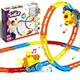 Jellydog Toy Tumble Train Track Set, Track Car Twister Set, Electric Flexible 23 Colorful Music Tracks + 1 Light Up Dump Truck, Build-A-Road X-Track Toy Car Playset, for Ages 3 and Up