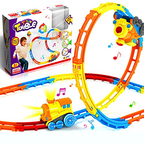 Train Track Set, Track Car Twister Set, Electric Flexible 23 Colorful Music Tracks + 1 Light Up Dump Truck , Build-A-Road X-Track Toy Car Playset, for Ages 3 and Up ()