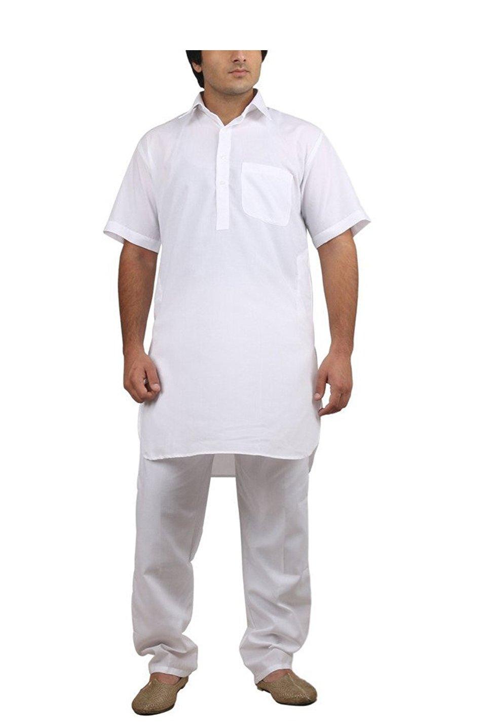 Royal Kurta Big Boy's Cotton Blended Fine Pathani Kurta Pyjama 42 White