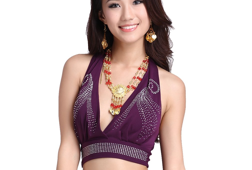 ZLTdream Lady's Belly Dance Bra Top Bandage Crystal Cotton